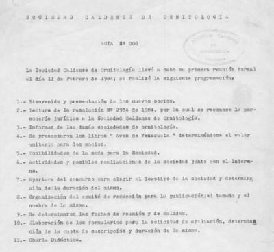 Detalle del Acta 001. Asamblea SCO, febrero 11 de 1984